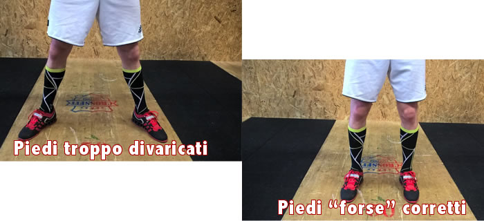 Larghezza piedi nello strappo olimpico