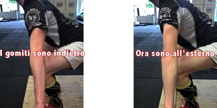 Posizione gomiti weightlifting