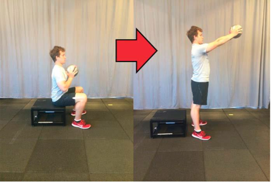 Box squat con palla
