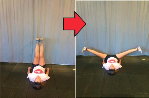 Stretching adduttori sdraiato