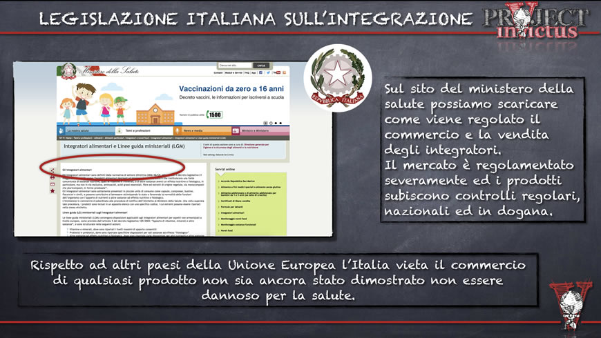 regolamentazione italiana integratori