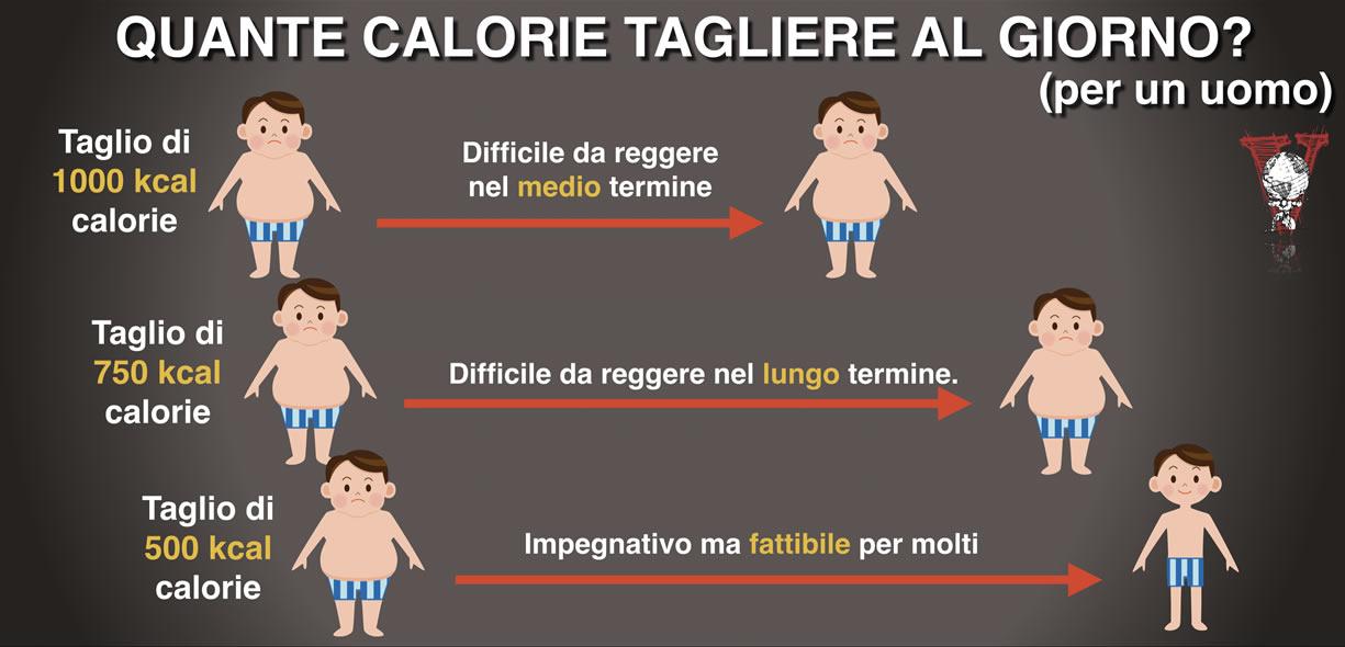 Quante calorie tagliare al giorno
