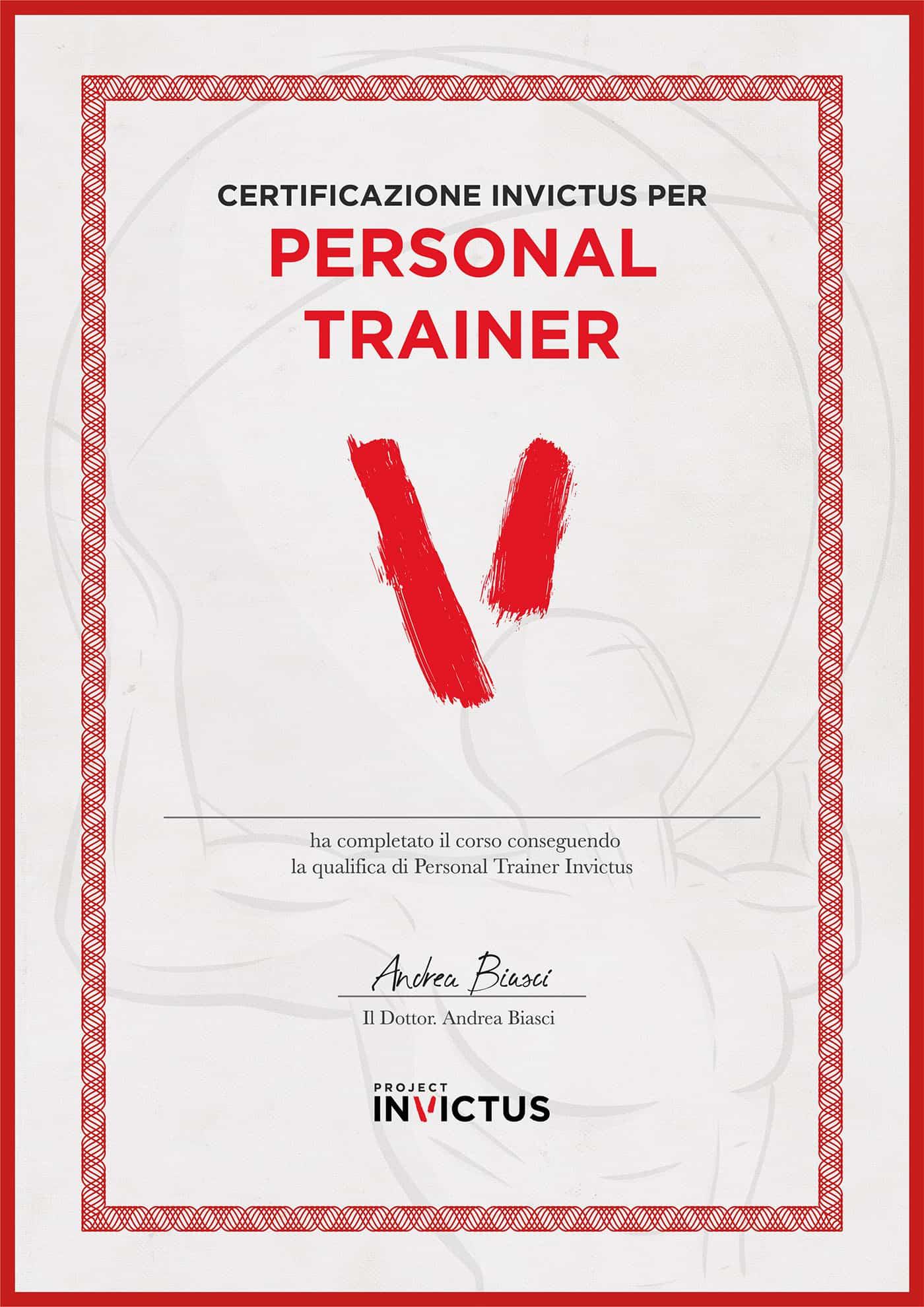 invictus trainer attestato certificazione